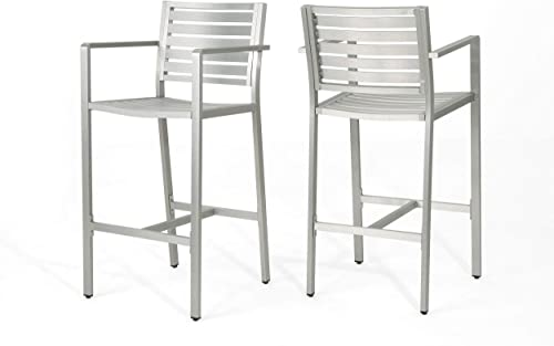Christopher Knight Home Tammy Coral Outdoor Silver Rust-Proof Aluminum 29.50 Inch Barstools Set of 2