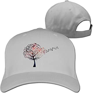 JIEKEIO Funny Baseball Caps Hats Music Tree with Treble Clefs And Flying Musical Notes Adjustable Peaked Unisex Snapback cap Natural