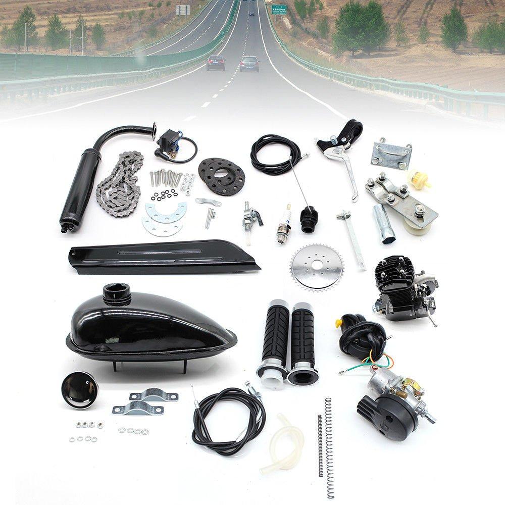 Hansemay 80cc 2 Stroke Cycle Petrol Gas Motor Engine Air Cooling Motorized Engine Kit for Motorized Bike Kick Start