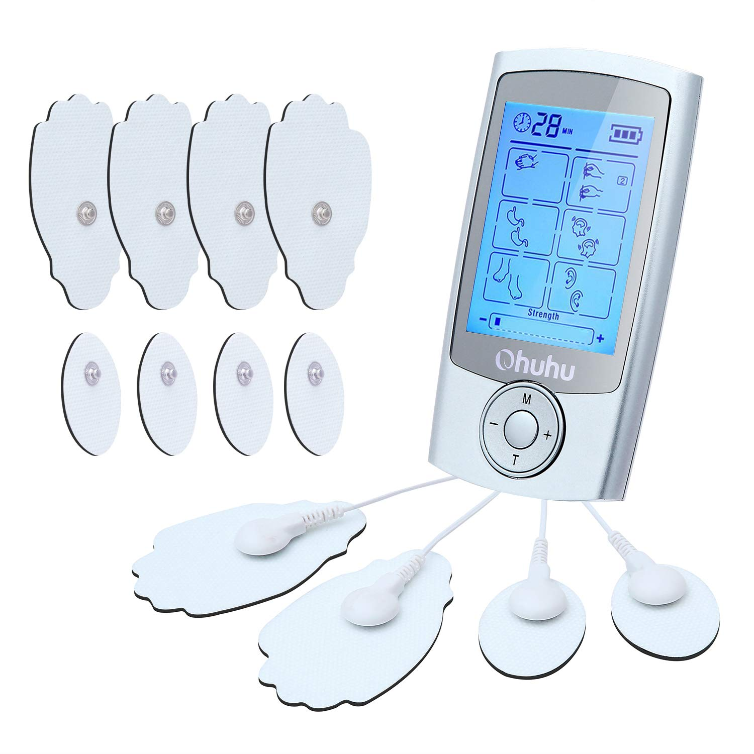 FDA Cleared Muscle Pain Tens Unit, Ohuhu Rechargeable 16 Modes and 12 Pads Electronic Muscle Stimulator Machine, Pulse Impulse EMS Therapy Electric Massager for Lower Back Shoulder Elbow Pain Relief