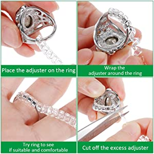 Anpro Set of 15 Pack Ring Size Adjuster with 3 Sizes Clear Ring Sizer Resizer Fit for Loose Rings(Please See The Below Picture for The Steps. 2mm/3mm) (Color: Clear)