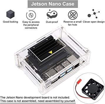 High Quality Cooling Fan Clear acrylic case with screws /& nuts For Jetson Nano