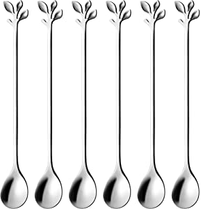 Long Handle Iced Tea Spoons Set of 6, Comicfs 7.6