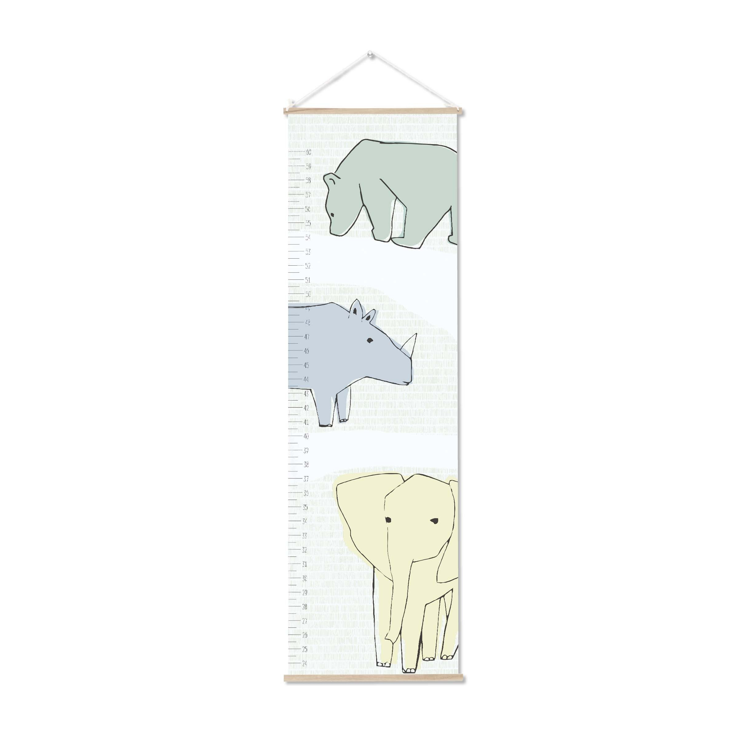 C.R. Gibson Animal Themed Cotton Canvas Growth Chart for Babies, 12'' W x 42'' H