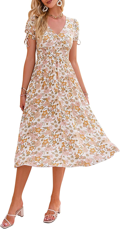 Womens Summer Holiday Boho Floral Midi Dress Ladies Short Sleeve Beach Sundress