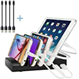 Charging Station,Thopeb 4 Port Usb Charging Station & Multiple Usb Charger Docking Station - for Ipad,Iphone,Samsung,Smartphone - Desktop Cell Phone Charging Station Organizer with Include 4 Cable