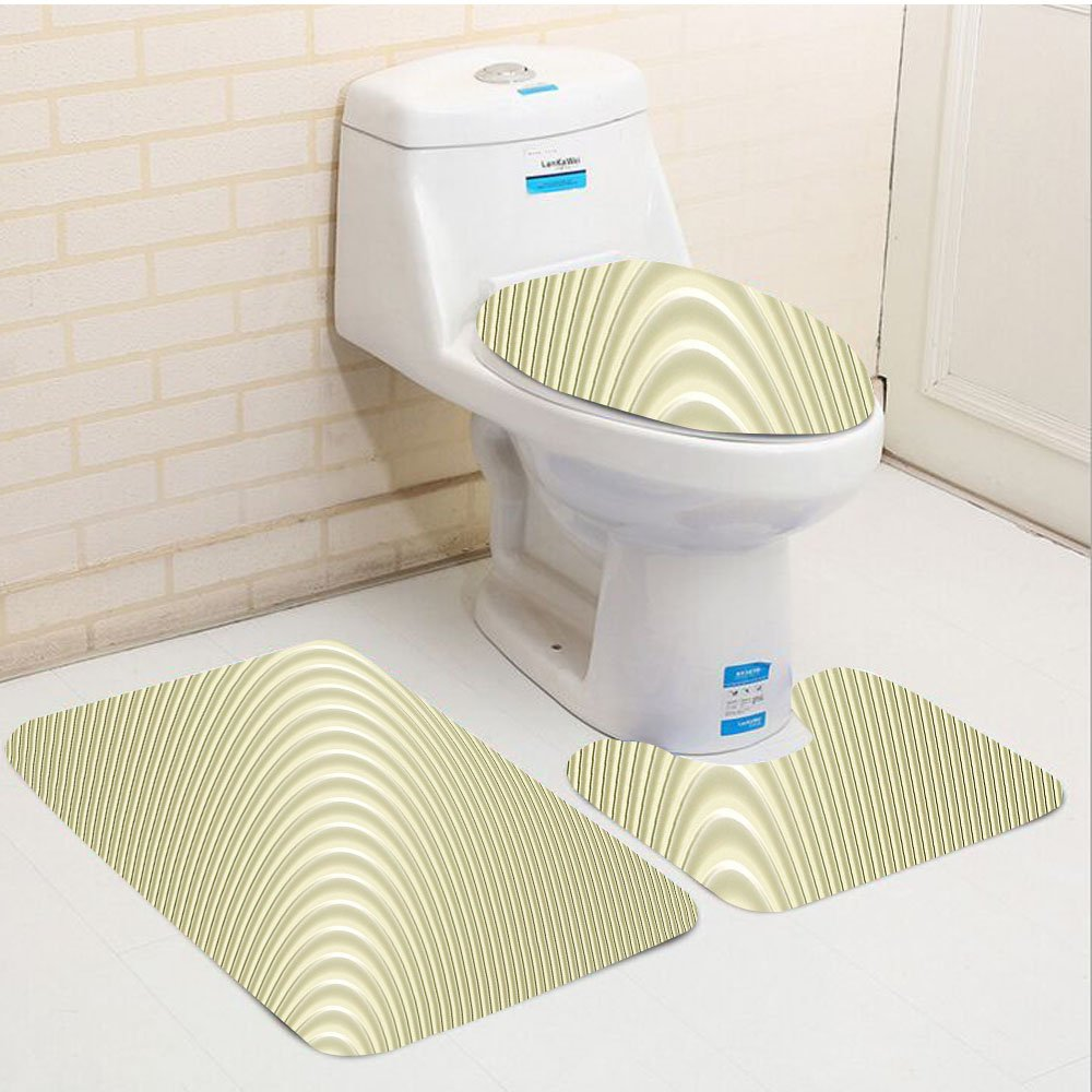Keshia Dwete three-piece toilet seat pad customModern Simplistic Circular Circles Wave Spirals Peaceful Minimalist Authentic Artwork Eggshell by Keshia Dwete (Image #1)