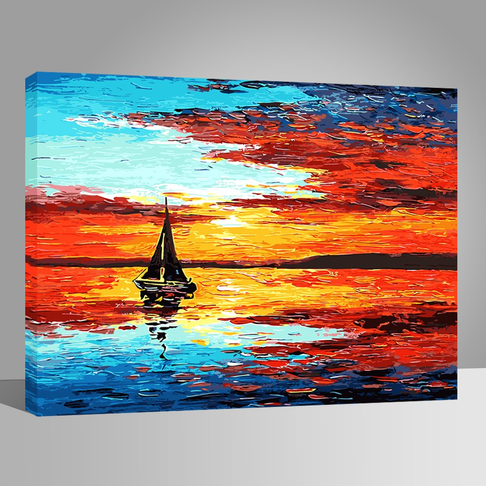 Tank 16 x 20 inch BOSHUN Paint by Numbers Kits with Brushes and Acrylic Pigment DIY Canvas Painting for Adults Beginner Without Frame