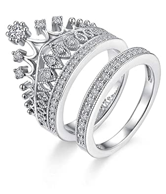 OOMPH Jewellery Silver Plated Crystal Zirconia Crown Setting Love  Engagement Ring Combo of 2 for Women(RJD22R5)-Silver, White