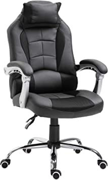 Homcom Fauteuil Chaise de Bureau Gaming modèle baquet de Course Grand Confort HauteurInclinaison Dossier réglable Noir