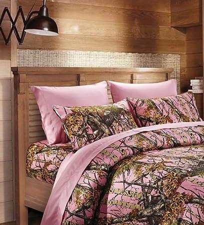 20 Lakes Microfiber 6 Piece Hunter Pink Camo Rustic Bed Sheet Set U0026  Pillowcases (Pink
