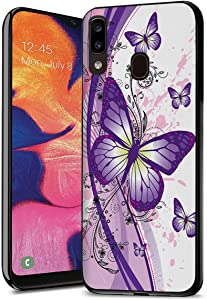 Galaxy A20 Case, Galaxy A30 Case, Premium TPU Ultra Thin Flexible Shock Absorbent Silicone Rubber Protective Cover for Samsung Galaxy A20 (2019) / A30 (2019) - Purple Butterfly