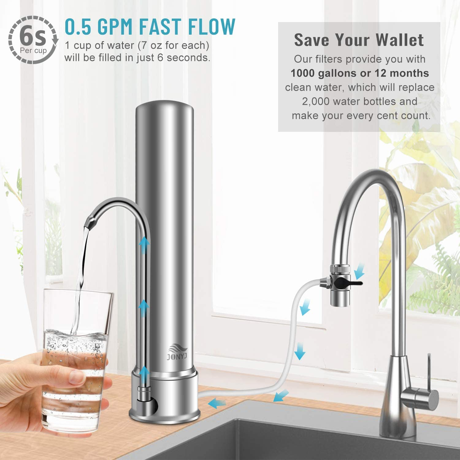 Water Purifier with UF Filtration System Reduces Chlorine 304 Stainless-Steel Faucet Water Filter High Water Flow Tap Water Filter Fits Standard Faucets JONYJ Countertop Water Filter
