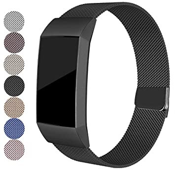 FitTurn for Fitbit Charge 3 Bands, Stainless Steel Metal Replacement Strap  with Unique Magnet Lock Charge 3 Sport Band Straps Wristband for Charge 3