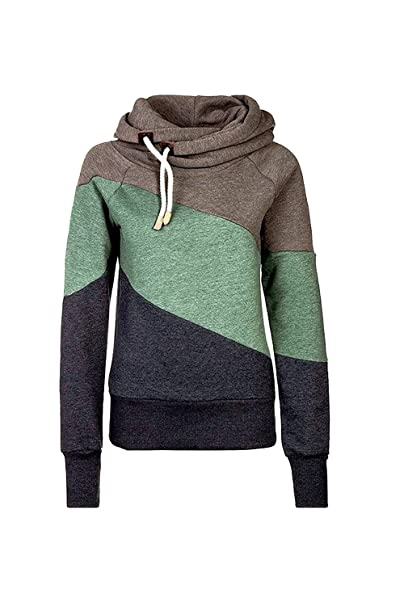 2a251fda492 Suvotimo Women Casual Fleece Pullover Drawstring Hoodie Sweater Sweatshirts  Top Khaki S