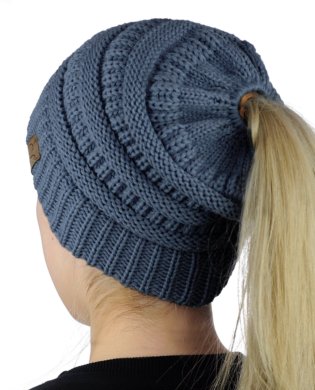 f7e2557b9cc714 Galleon - C.C BeanieTail Soft Stretch Cable Knit Messy High Bun Ponytail  Beanie Hat, Dark Denim