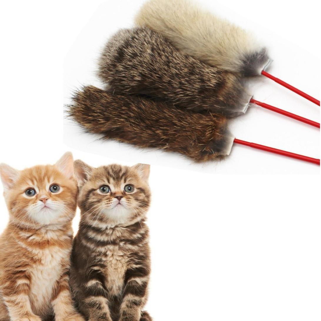 Creazy Rabbit Hair Fun Cats Pet Kitten Jump Help Fun Cat Toys Tease Sticks