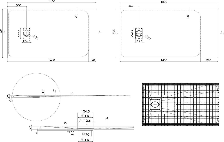 Dimension:90x120cm Dimensions et Accessoires s/électionnables Bonde et syst/ème d /évacuation:sans syst/ème d/évacuation Bernstein Badshop Receveur de Douche Rectangle en SMC 3,2 cm de Hauteur