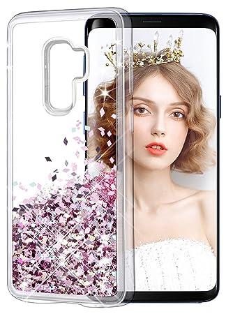 dbea3464 wlooo Funda para Samsung Galaxy S9 PLUS, Glitter liquida Cristal Silicona  Lujo Flowing Sparkly Cute Transparente Cover protector Suave TPU Bumper  Case ...
