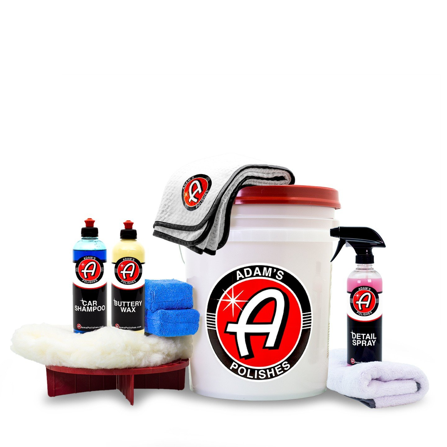 Adam's Basic Wash & Wax Kit - Car Shampoo Foam Soap, Buttery Wax, Microfiber Applicators, Drying & Waxing Towels, Wash Bucket and More Car Cleaning Supplies to Polish & Protect Car, Boat & Motorcycle