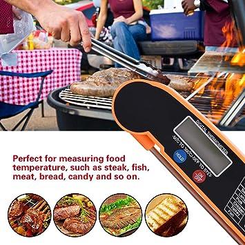 TOPINCN LCD Digital de Alimentos Term/ómetro para Carnes con Plegado 180 /° Sonda de Rotaci/ón Pavo Pescado Carne de Res Cocina Cocinando Parrillada Grill Tester