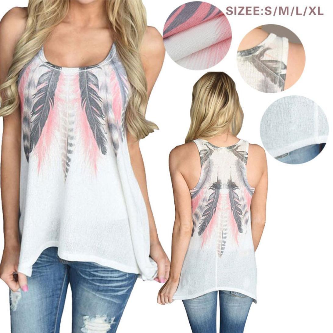 Chaleco sexy mujer ❤ Amlaiworld Blusas sin mangas de plumas de mujer Camisetas camisas cami tops de verano Camisa talla grande casual ropa de playa ...