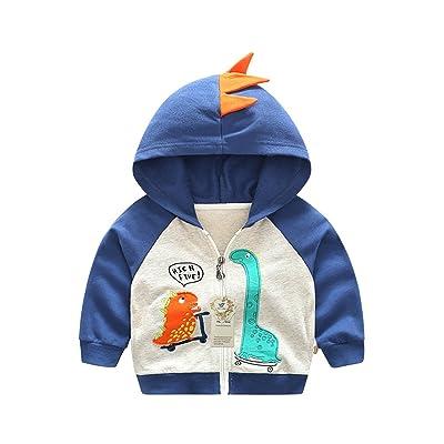 Thorn Bird Boys Cartoon Dinosaur Hooded Jacket Kids Animals Sweatshirt Coat (Navy Blue-130)
