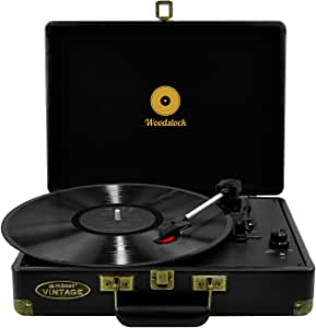 mbeat Woodstock Retro Briefcase Style Turntable Player 3 Speed Play with Built in Speakers - Black