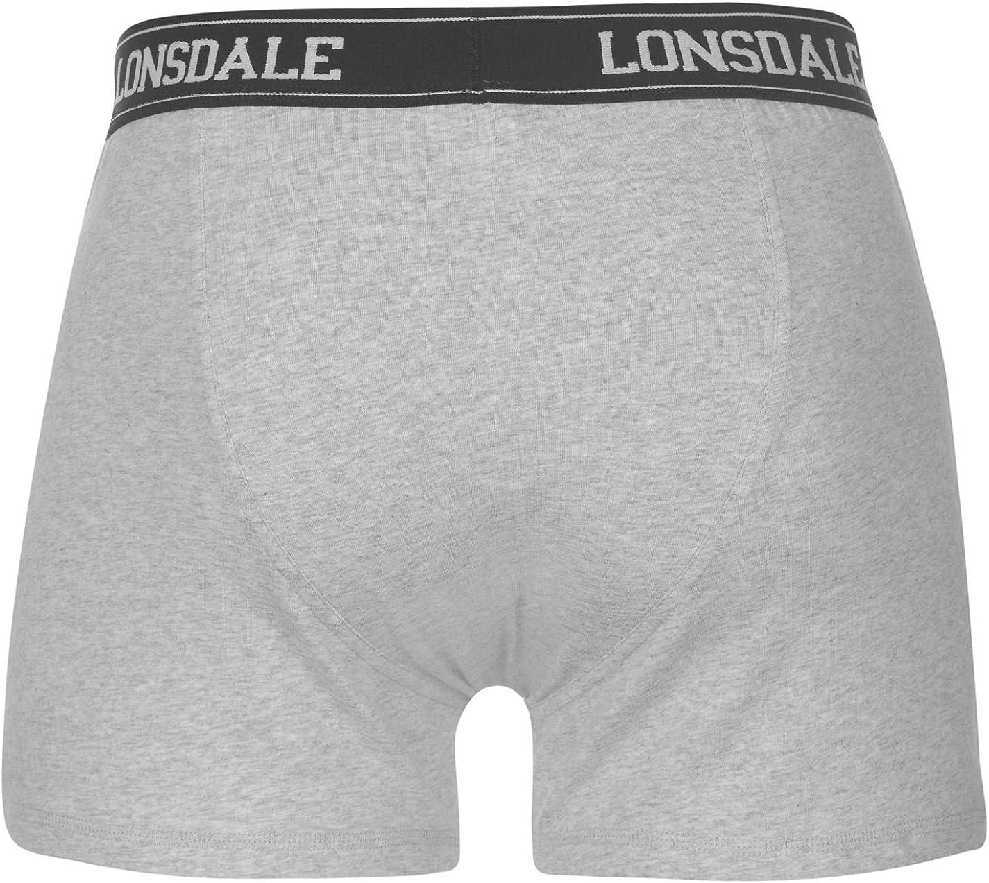 Confezione da 2 paia di boxer da uomo in misto cotone con elastico in vita Lonsdale