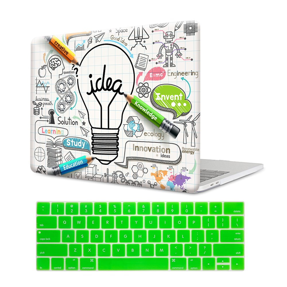 MTAOTAO Plastic Pattern White Creative Bulb Hard Shell Case with Keyboard Cover for MacBook Pro 13(A1706/A1708)