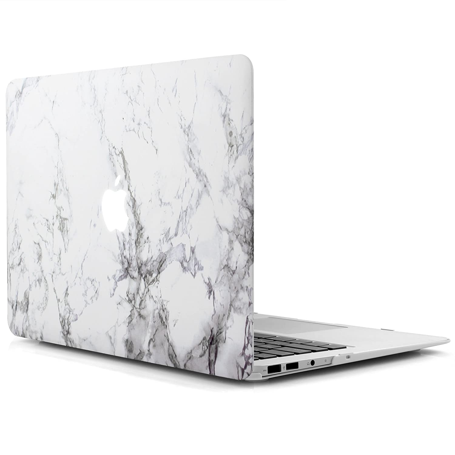 iDOO Matte Rubber Coated Soft Touch Plastic Hard Case for MacBook Air 13 inch Model A1369 and A1466 White Marble