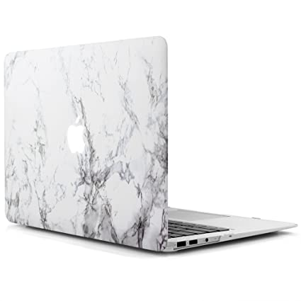 best service 73837 cc4e2 iDOO, Marble Pattern Case for MacBook Air (Model: A1369 and A1466 )with  Rubber Coated Hard Shell Cover,13 Inches length, (FBA_MAC-A-13, White)