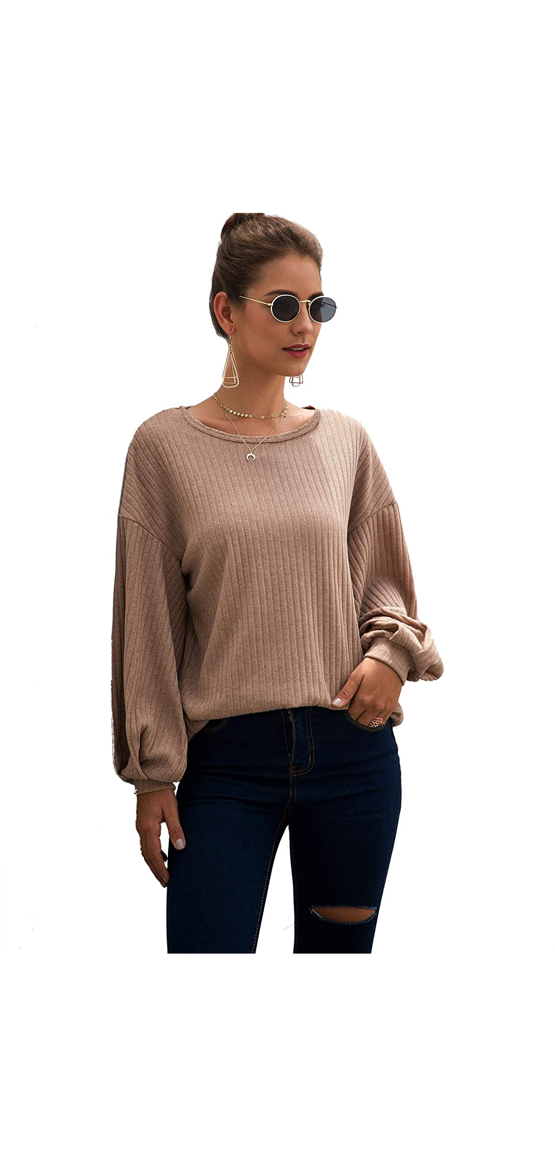 Women's Bishop Long Sleeve Round Neck Solid Ribbed Knit