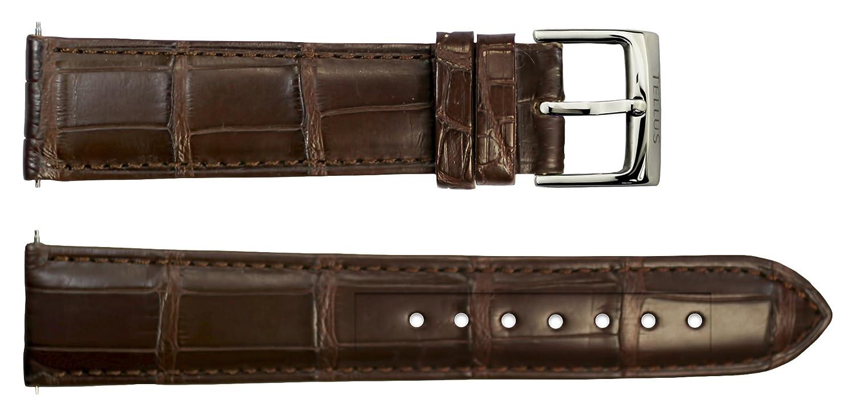 Armbanduhr lederarmband in Dunkelbraun Alligator - 20 - - Schnalle in Edelstahl - B20039
