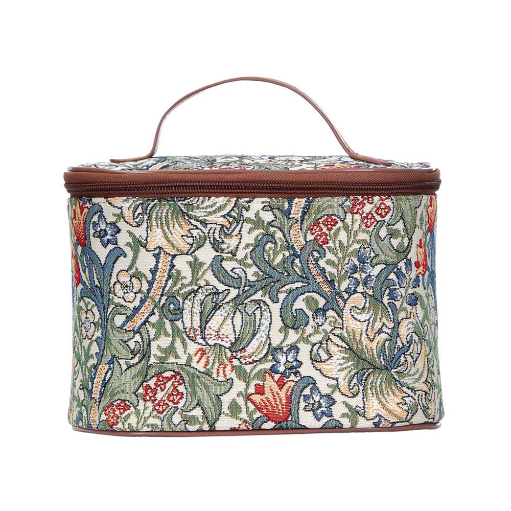 Signare Tapestry Toiletry Bag Makeup Organizer bag for Women with with William Morris Golden Lily Design (TOIL-GLILY)