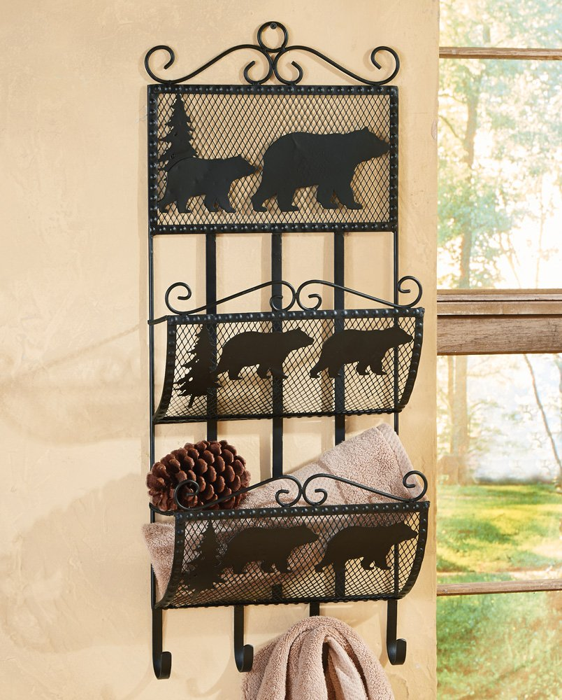 Black Bear Metal Rustic Storage Rack/Shelf - Cabin Furniture