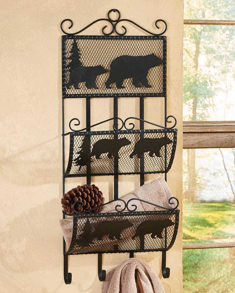 Black Bear Metal Rustic Storage Rack/Shelf - Cabin Furniture by BLACK FOREST DECOR