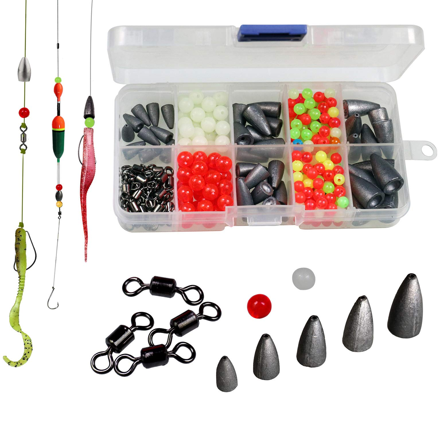 thkfish Carolina Rig Texas Rig Bass Fishing Bullet Weights for Fishing Sinkers Hooks Rolling Barrel Fishing Swivels Beads Ring with Plastic Box Texas and Carolina Rig DIY KIT 339pcs
