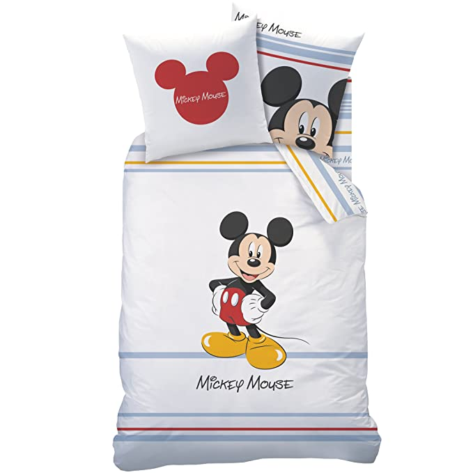 Cti 041081 Mickey Bayadere Housse de Couette 140 x 200 cm + Taie 63 x 63 cm  Mickey Bayadere Coton Reversible
