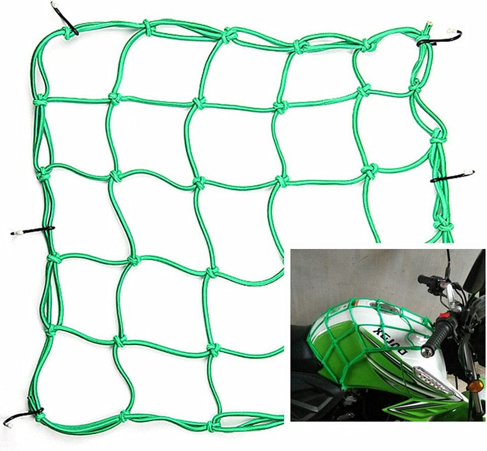 Dogxiong 2 Package 15 x15 40x40cm Motorcycle Cargo Net for Motorcycle Elasticated Bungee Cord Cargo Net Luggage Mesh Bungee Net Storage Tie Down Adjustable with 6 Hook