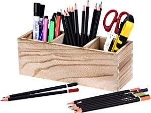 Pencil Organizer for Desk, Wood Pen and Pencil Holder, Adjustable 3 Compartments Desktop Pencil Caddy Organizer, Multiuse Office Stationery Crayon Colored Pencil Cup Organizer