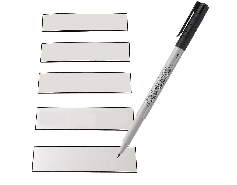 EisenRon - Etichette magnetiche scrivibili, pennarello incluso, colore: Bianco