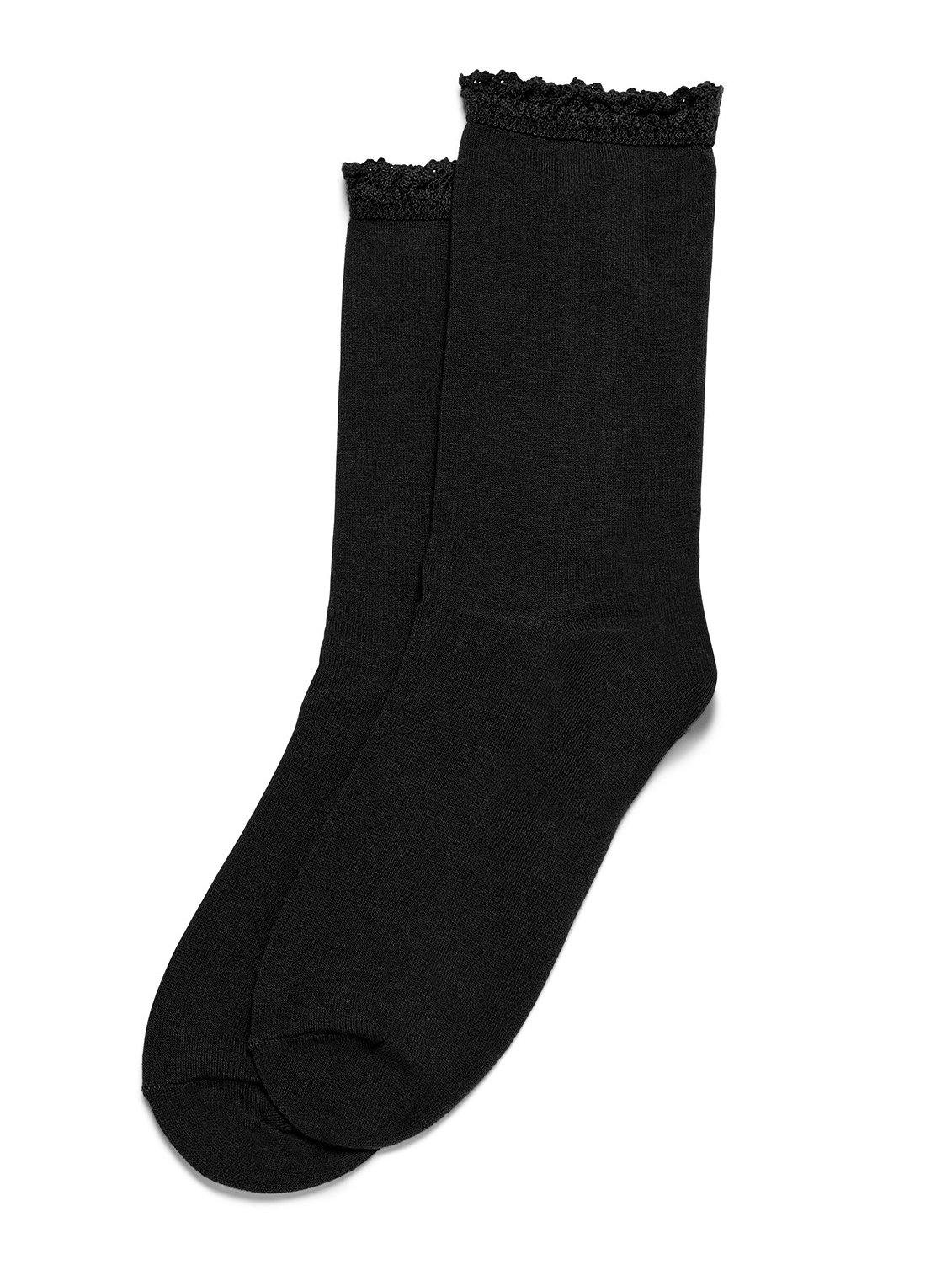 Hue Women's Lace Trim Socks, Black, Medium