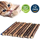 Matatabi Cat Catnip Sticks 12pcs Cat Chew Sticks Dental Cleaning for Cats 100% Organic Silver Vine Dental Treats Molar Chew Toy Olfactory Enrichment