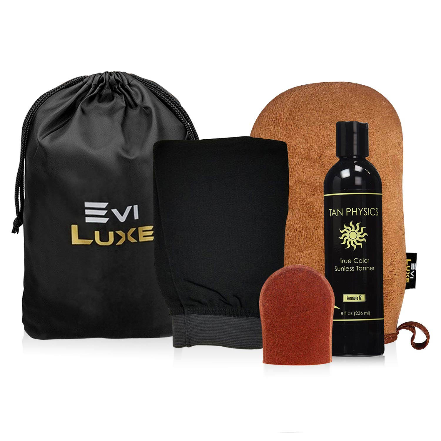 Tan Physics & EviLuxe Deluxe Tanning Mitt Bundle (5pcs) - Face & Body Tanner Mitts, Exfoliation Glove, Storage Bag & 8oz True Color Sunless Tanning Lotion - For Flawless Sun Kissed Skin All Year Long