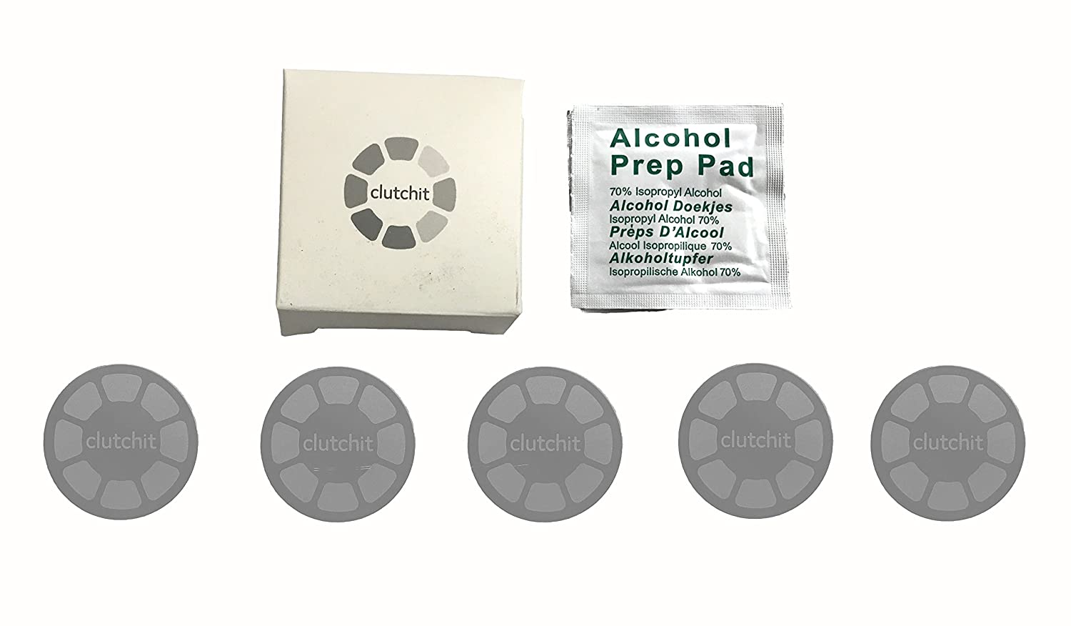 Space Grey Clutchit 5-Pack Thick Magnetic Metal Replacement Plate with 3M Adhesive for Surfaces