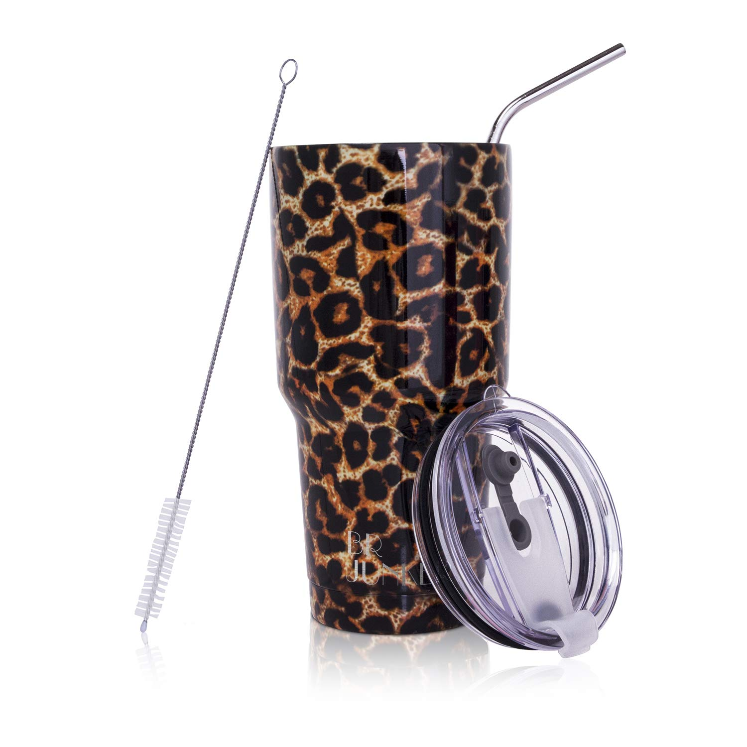 30 oz. Tumbler Double Wall Stainless Steel Vacuum Insulation Travel Mug with Crystal Clear Lid and Straw, Water Coffee Cup for Home,Office,School, Ice Drink, Hot Beverage,Leopard