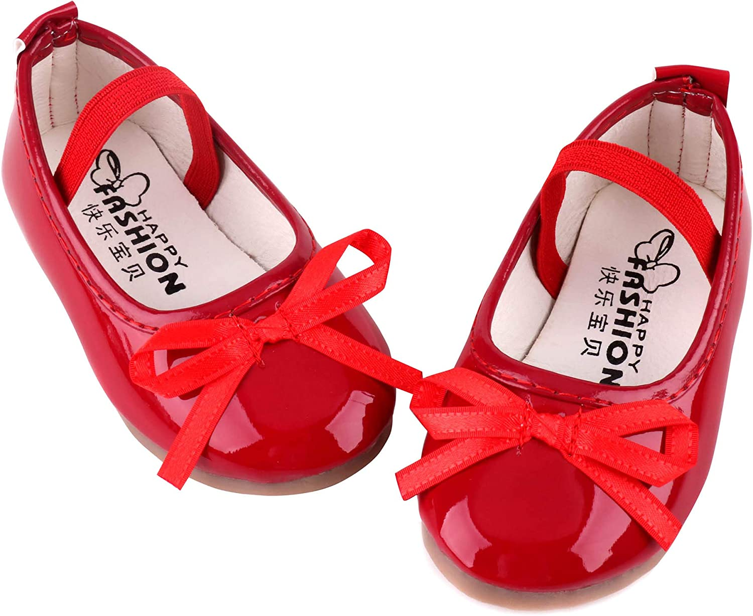 LONSOEN Baby Toddler Girls Dress Ballerina Ballet Flat Shoes Wedding Party Slip-on Mary Jane