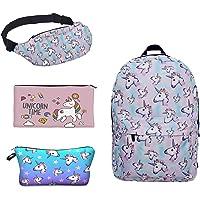 Leah's fashion Impresión Unicornio Mochila de Lona Con Cremallera Mochilas Escolares Bolsa de Hombro Bolsa Unicornio…
