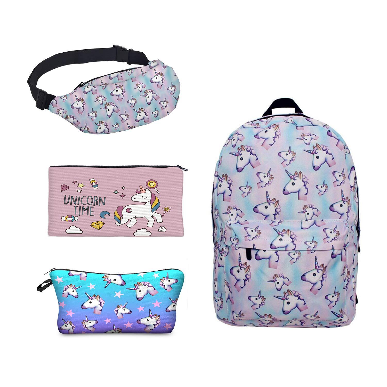 Leahs fashion Impresión Unicornio Mochila de Lona Con Cremallera Mochilas Escolares Bolsa de Hombro Bolsa Unicornio
